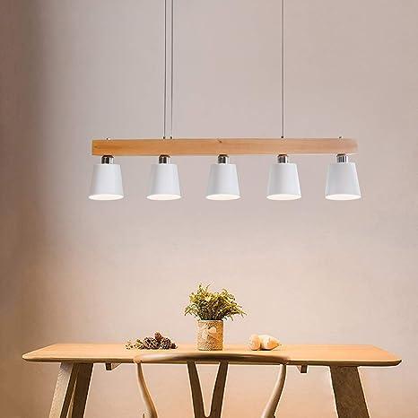 ZMH Lampe Suspension Luminaire Plafonnier E27 avec 5 Flammes Lampe  Industrielle en Bois et Métal Hauteur Réglable pour Salle à Manger Salon  Café ...