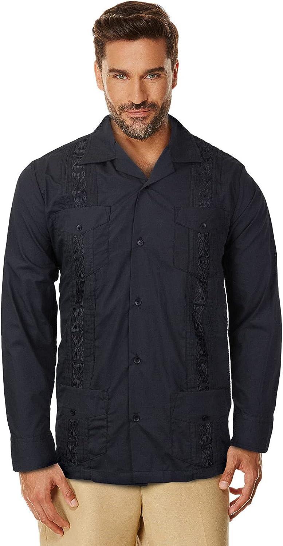 Maximos USA Guayabera - Camisa de Vestir Informal de Manga Larga con Botones para Hombre