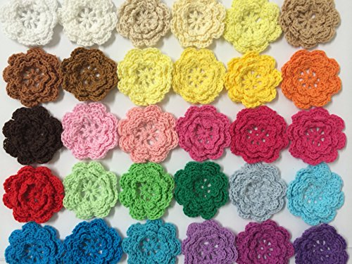PEPPERLONELY Brand 20PC Rainbow Collection Eight Petals 2 Inch Crocheted Flower Appliques ()