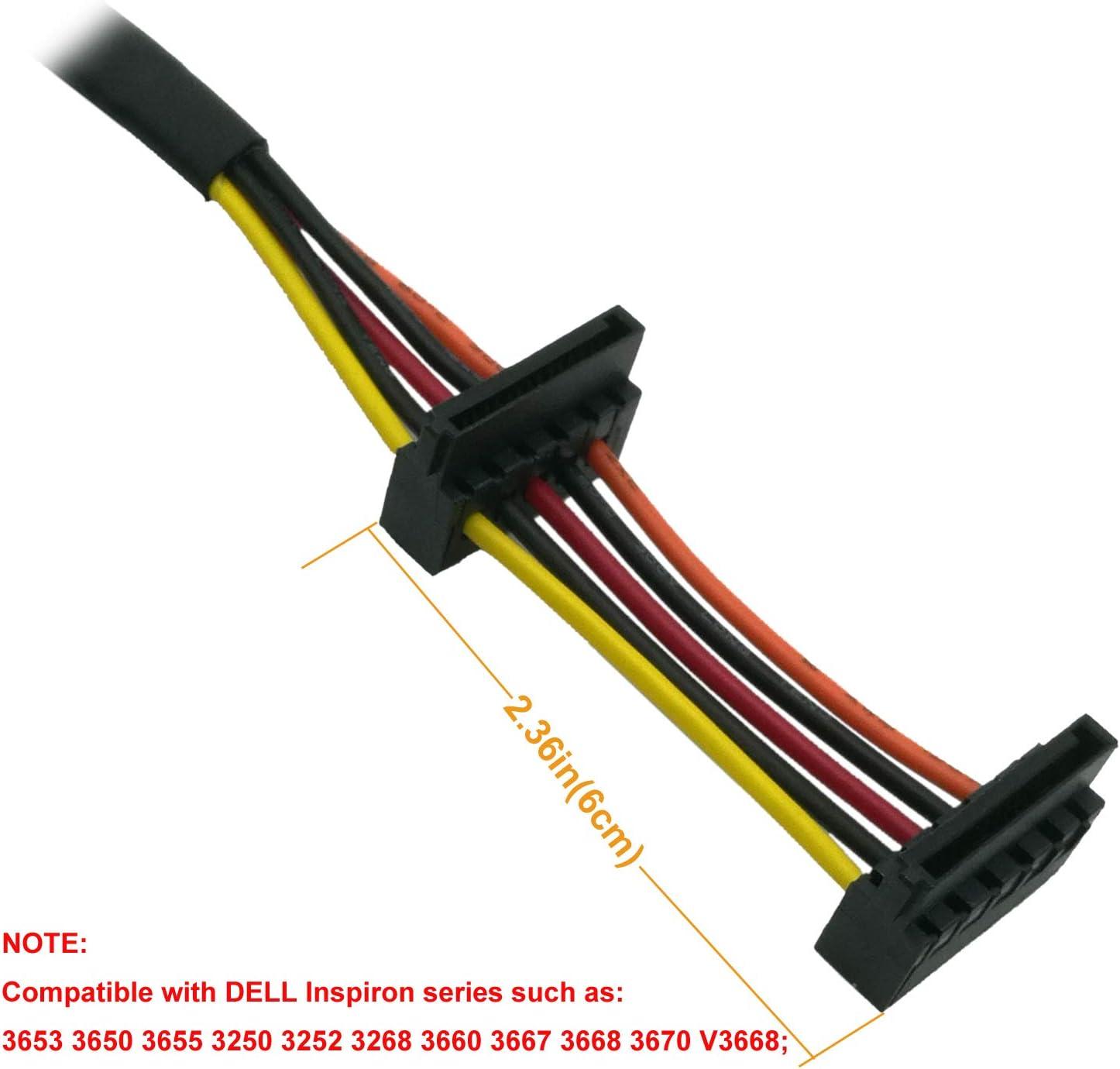 37cm COMeap Disque dur SATA C/âble dalimentation Remplacement Angle droit SATA 15 broches x2 vers Mini 6 broches ATX Adaptateur pour Dell Inspiron 3653 3650 Series Pi/èce 14,5 pouces