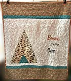 Made in USA, Ready to ship, Homemade crib size tribal quilt for baby boy