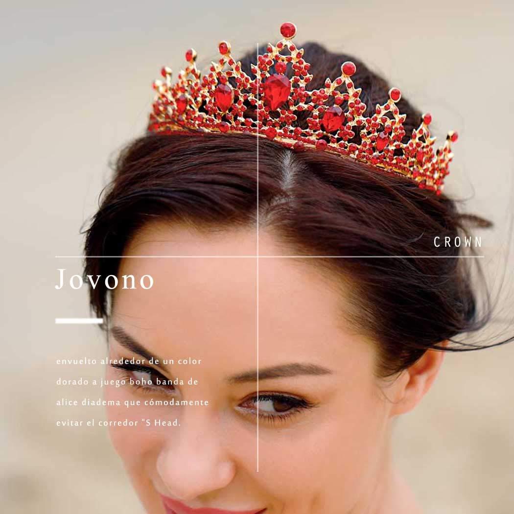 Jovono Diad/ème de mari/ée avec perles en cristal pour femme et fille