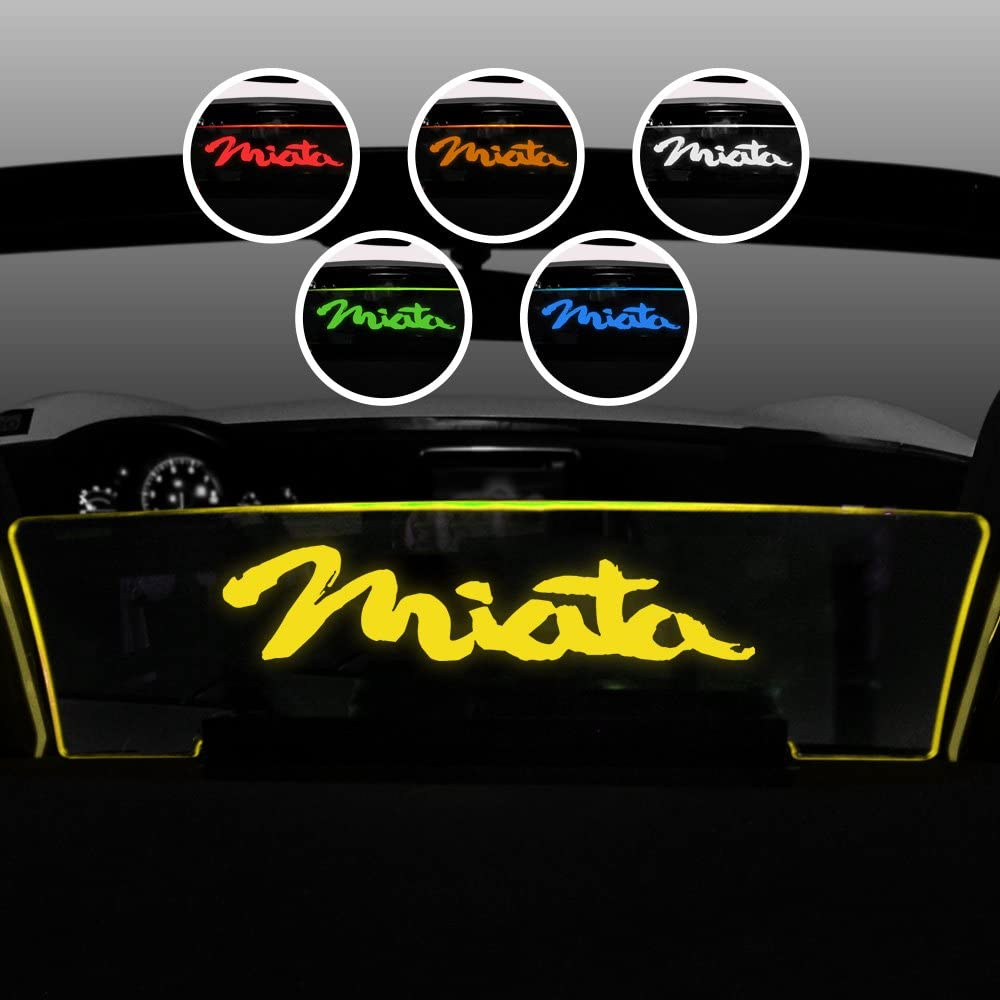 """Amber LED Lighting Windrestrictor Compatible with 2006-2015 Mazda Miata NC Wind Deflector for Convertibles Controls Backdraft Air Flow /& Wind Noise Laser Etched /""""Miata/"""" Design"""