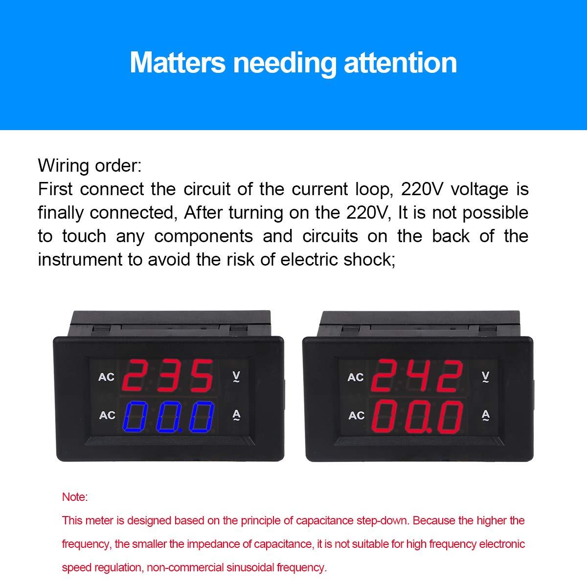 MakerHawk 2pcs Num/érique AC Double Affichage Tachym/ètre 0.39 Pouces Affichage /à LED De Mesure AC 100V ~ 300V 0~50A Haute pr/écision Testeur de voltm/ètre num/érique avec transformateur de Courant