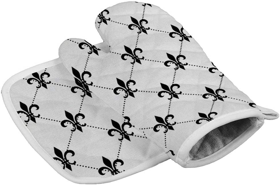 Jacksome Fleur De Lis Kitchen Oven Mitts Funny Oven Gloves