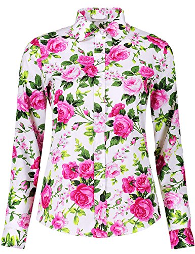 DOKKIA Women's Fashion Tops Feminine Long Sleeve Button Down Work Casual Dress Blouses Shirts (XX-Large, Fuschia Carnation)