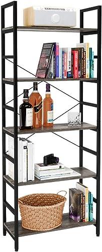Bestier Bookshelf 5 Tier Bookcase Adjustable Shelves