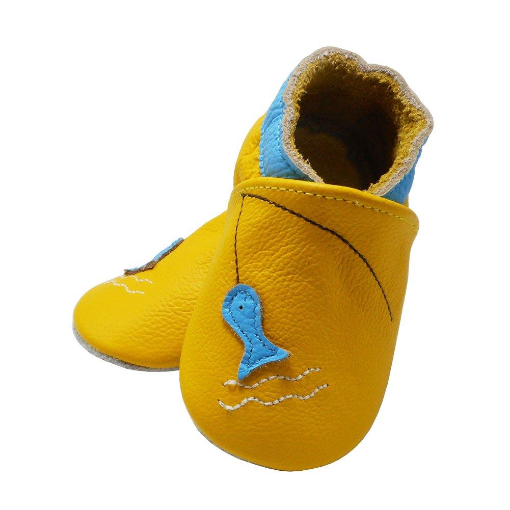 Yalion Baby Weiche Leder Lauflernschuhe Krabbelschuhe Hausschuhe Lederpuschen Fischen in 3 Farben