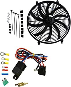"""OzCoolingParts 16"""" Universal High Performance Black Silm Pull/Push Radiator Cooling Fan 12V with Mounting + Thermostat/Relay Wire Kit, 16 Inch"""