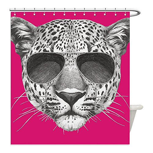 Liguo88 Custom Waterproof Bathroom Shower Curtain Polyester Modern Hipster Leopard with Aviators Sunglasses Portrait Cool Wild Animal Illustration Magenta Grey Decorative - Urban Outfitters Aviators