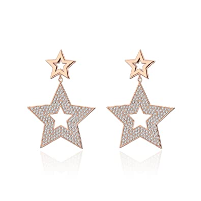 c2c40c8bf Amazon.com: Dangle Earring for Women, Star Drop Earring Girls Gold Silver  Stud Earring Stainless Steel Earring with CZ Crystal (Rose Gold Plated):  Jewelry