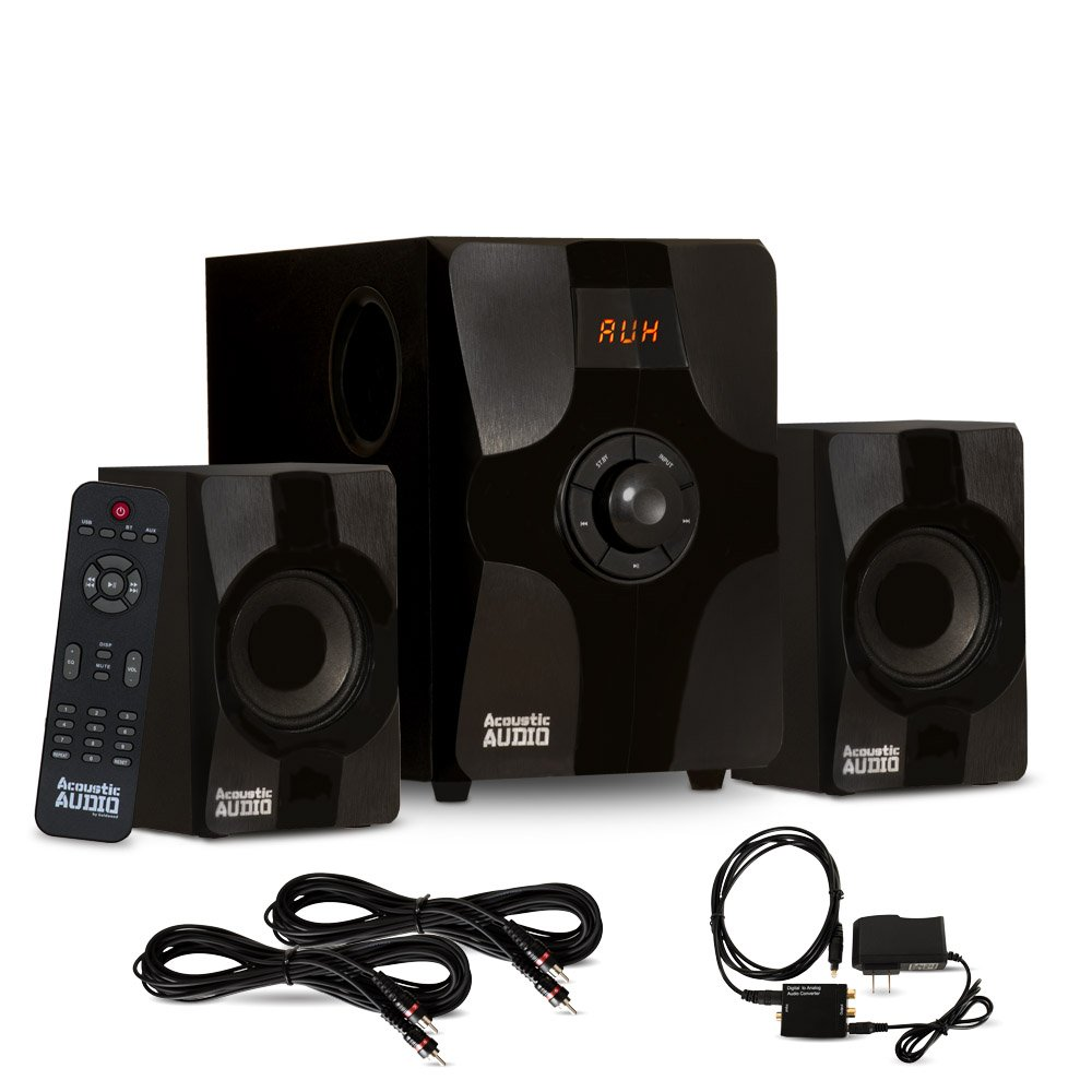 Acoustic Audio AA2131 Bluetooth Home 2.1 Speaker System with Optical Input and 2 Extension Cables