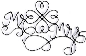 Dicksons Mr. and Mrs. Metal Black 10 x 16 Wire Wall Sign Plaque