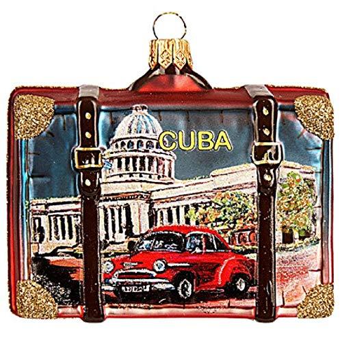 Pinnacle Peak Trading Company Cuba Travel Suitcase Polish Glass Christmas Tree Ornament Havana Decoration (Cuba Christmas Decorations)