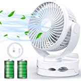 USB扇風機 卓上扇風機 クリップ式 充電式 ファン 小型 超静音 強力 大風量 5000mA 20h連続使用 風速4段階調節 360度角度調整 LED照明機能付き 便利 コンパクト ホワイト