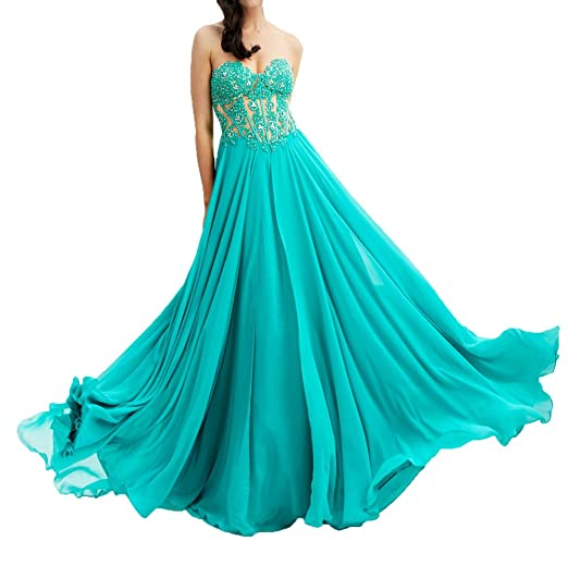 WDH Dress Lace Appliques Prom Dress Beaded Lace Up Evening Dress: Amazon.co.uk: Clothing