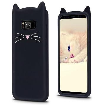 Galaxy S8 ケース 可愛い 猫 猫耳 ギャラクシーS8 カバー シリコンケース ACkaban シンプル ネコ かわいい