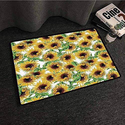 Sunflower Decor Collection Bedroom Doormat Dried Sunflowers Illustration Wildflowers Branch Herbarium Artistic Design Fine Art Easy to Clean W35 xL59