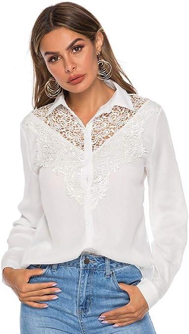 Camisa Mujer Manga Larga, RISTHY Blusa Encaje Tops de Oficina Trabajo Cuello en V Mangas Largas Camiseta Casual Otoño Camisas De Vestir Camiseta Blusa Tops para Fiesta: Amazon.es: Ropa y accesorios