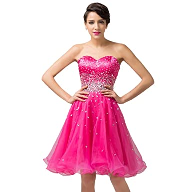 WAJY Womens Sequined Beaded Short Prom Dresses 2017 Hot Pink Size US2