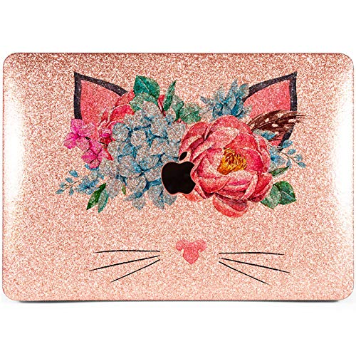 Lex Altern Glitter Apple MacBook Bling Air 13 Case Mac Pro 15 inch Hard Shiny Cover 2018 2017 11 Retina 12 2016 Cute Silver Floral Laptop Cat Girly Flowers Touch ()