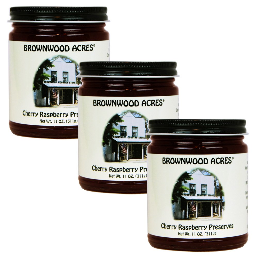 Brownwood Acres Cherry Raspberry Preserves - 3 PACK - Shipping Included by Brownwood Acres