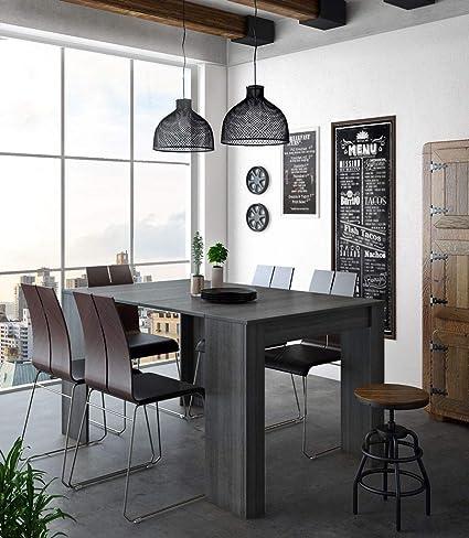 Home Innovation - Tavolo Consolle per Sala da Pranzo e Soggiorno,  Rettangolare, allungabile Fino a 140 cm, Colore Grigio, Fino a 6 Persone,  Dimensioni ...
