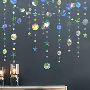 Cheerland Bling Bling iridescent Twinkle Star Garland Streamer Kit for Party Decorations Glitter Metallic Circle dot Garland Glittery Bunting Garlands Banner for Wedding Kids Room Birthday Baby Shower