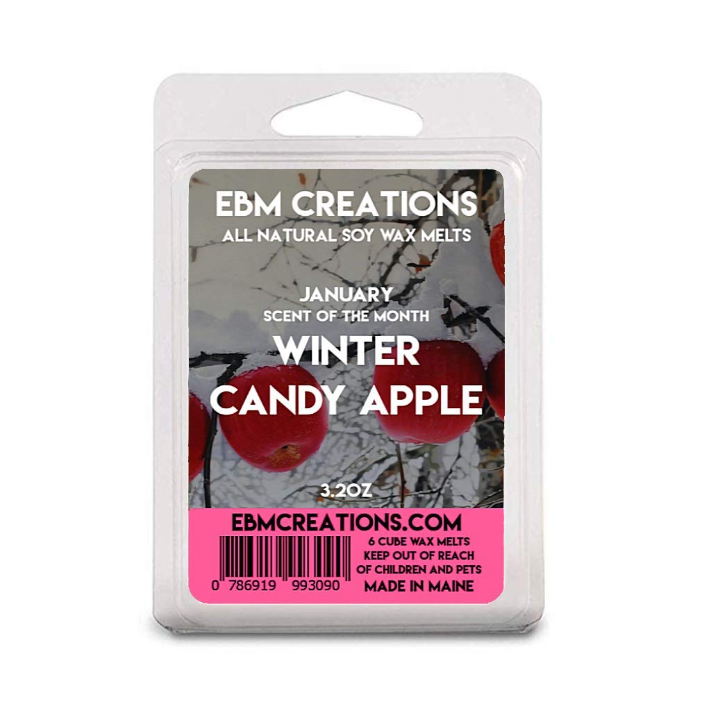 Winter Candy Apple - January Scent Of The Month - Scented All Natural Soy Wax Melts - 6 Cube Clamshell 3.2oz Highly Scented!