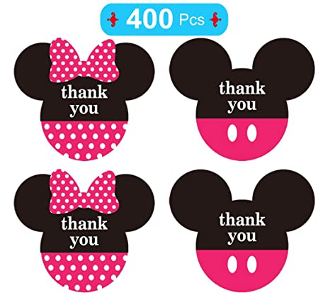 Mickey And Minnie Mouse Stickers.Mickey Minnie Mouse Stickers Thank You Labels 2 38 X 2 Inch Pink Mickey Minnie Head Ears Thank You Stickers For Birthday Baby Shower Party Thank You