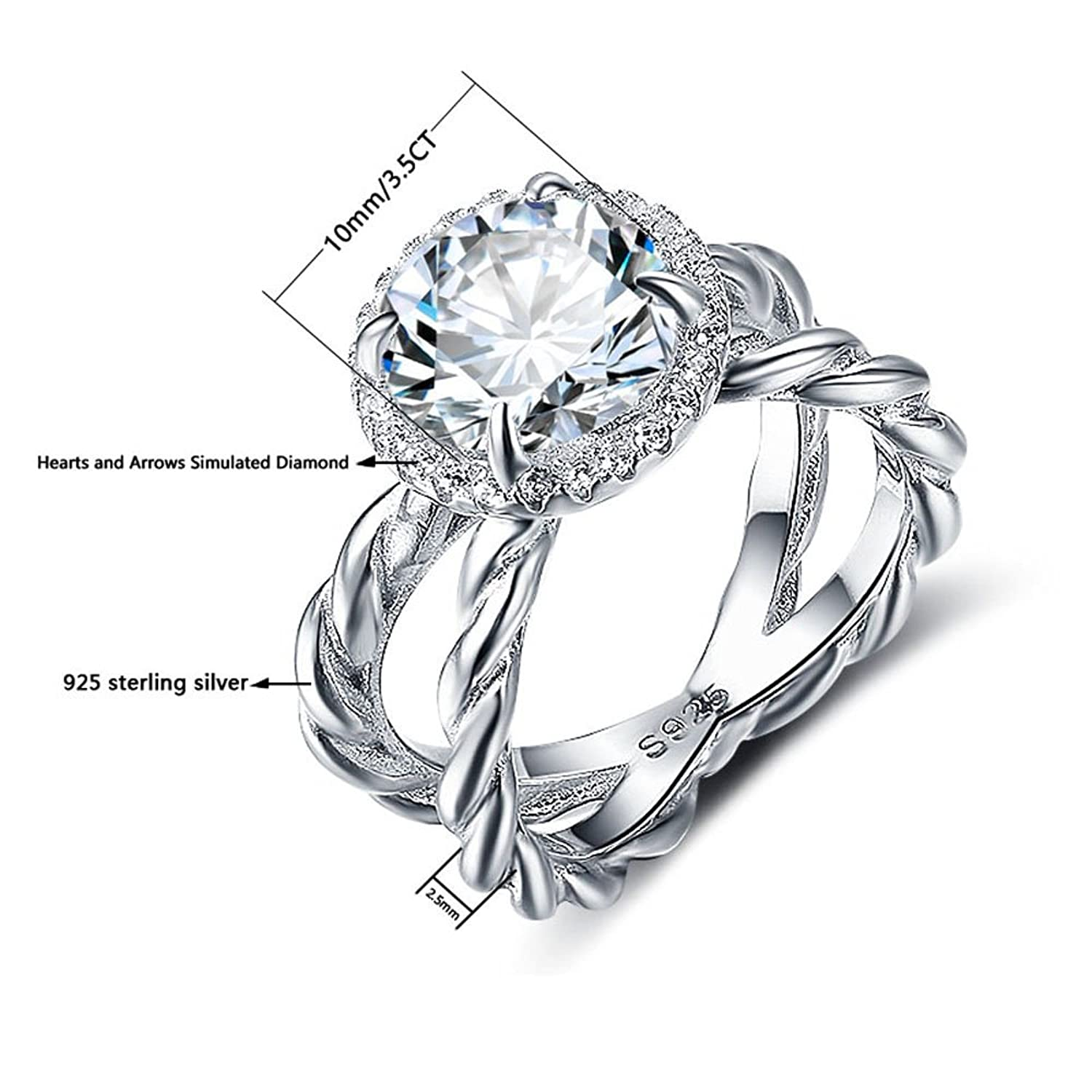 Amazon T Jewelry Fashion 925 Sterling Silver Ring For Women