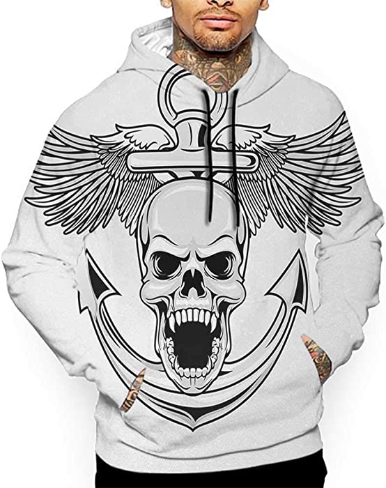 a470a90bc Amazon.com: Unisex 3D Novelty Hoodies Anchor,Skull with Anchor and Eagle  Wings Freedom Devil Sea Hunter Skeleton Myth Graphic,Grey White Sweatshirts  for ...