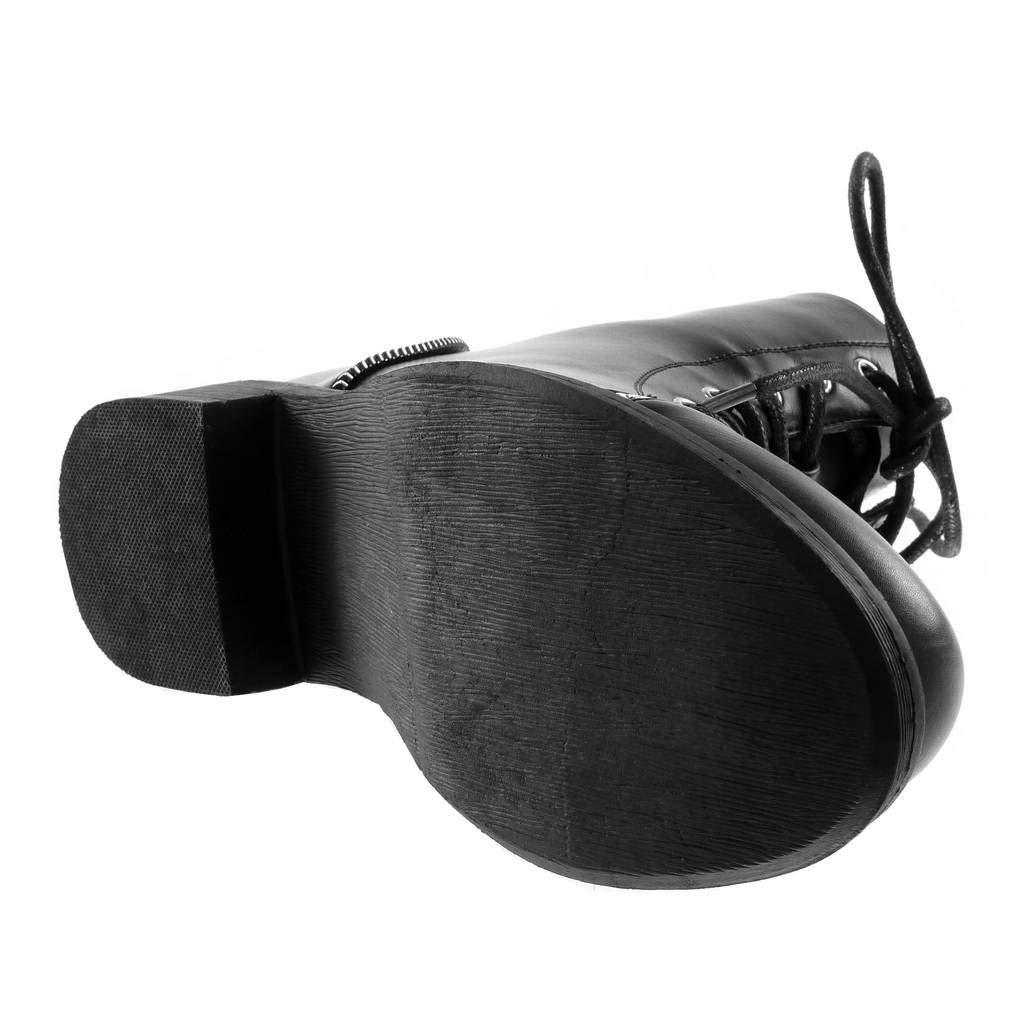 Angkorly Angkorly Angkorly - Damen Schuhe Stiefeletten - Combat Stiefel - Biker - Rock - Spitze - Reißverschluss Blockabsatz 3.5 cm 16bdfe