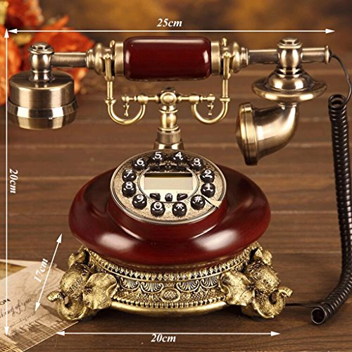 Mobeka Old-fashioned Push-button Rotary Disk Telephone Old-fashioned European-style Idyllic Telephone Home Telephone Landline Office Fixed Telephone (Design : Button)