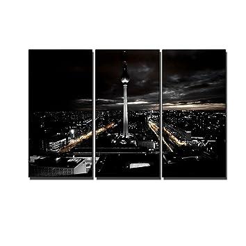 Amazonde 3 Teiliges Berlin Bild Auf Echter Leinwand Gerahmt