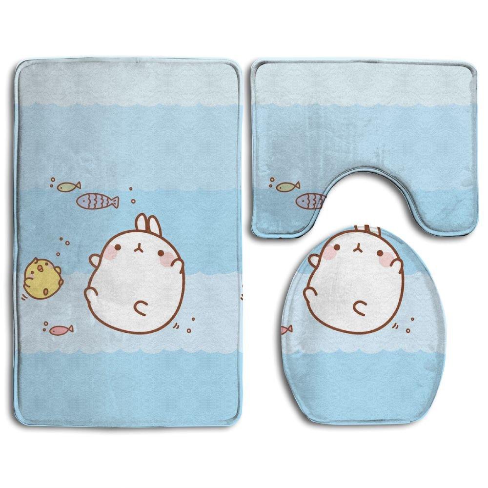 c5da0ad17 Amazon.com: WEEDKEYCAT Kawaii Bunny Fish Non Slip Large Home Bathroom Rugs  Doormats,Soft Toilet Rug U-Shaped Mat,Cool Round Toilet Lid Cover 3 Pieces  Set: ...
