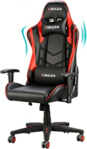 Hbada Gaming Chair Racing Style Ergonomic High Back Computer Chair with Height Adjustment, Headrest and Lumbar Support E-Sports Swivel Chair, Red(1-Year Warranty)