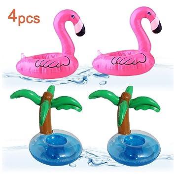 Aufblastiere Getränkehalter Flaschenhalter Aufblasbar Badespielzeug Pool Trinkhalter Flamingo