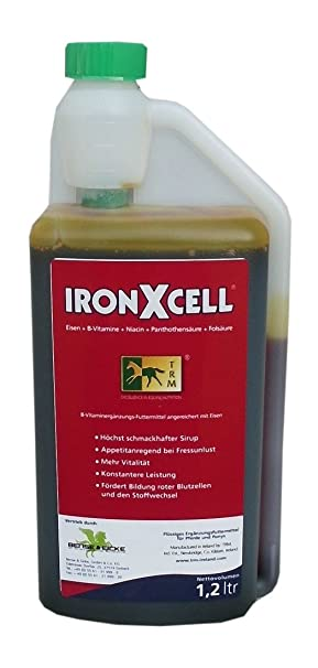 IronXCell 1,2 Liter para caballos forro adicional apetitoso con hierro B-vitaminas ácido fólico para caballos para los entrenamientos o con convalecencia: ...