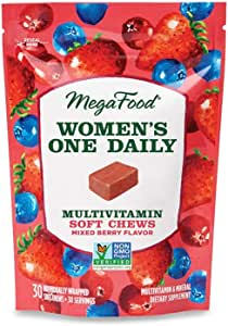 MegaFood, Women's Multivitamin Soft Chews, Daily Supplement, Supports Optimal Health and Well-Being, Gluten-Free, Vegetarian, Mixed Berry, 30 Chews (30 Servings)