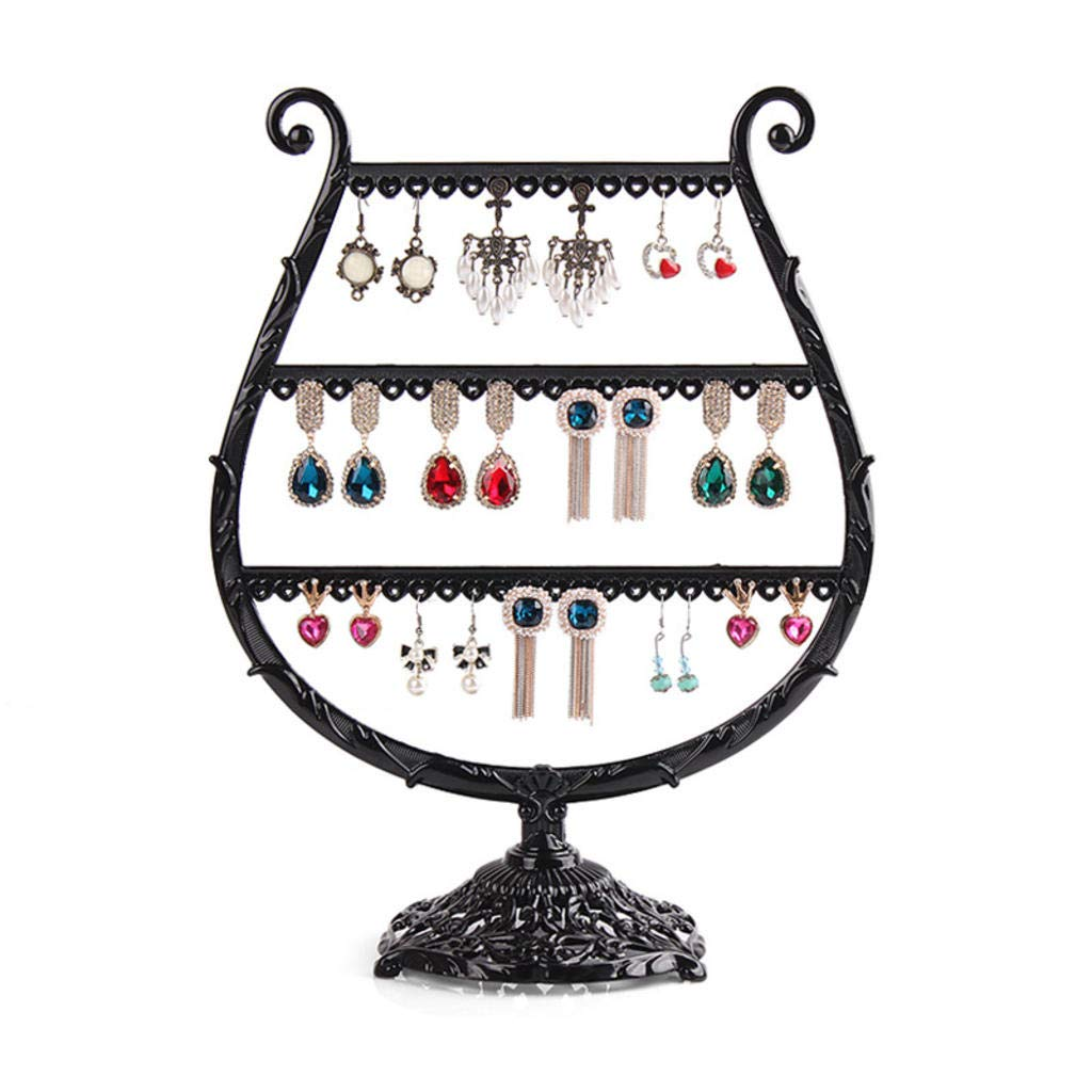 ROBAG Jewelry Stand Metal Jewelry Organizer High-End Jewelry Props Creative Wine Glass Earring Holder Ear Clip Holder Jewelry Display Stand Zinc Alloy Black