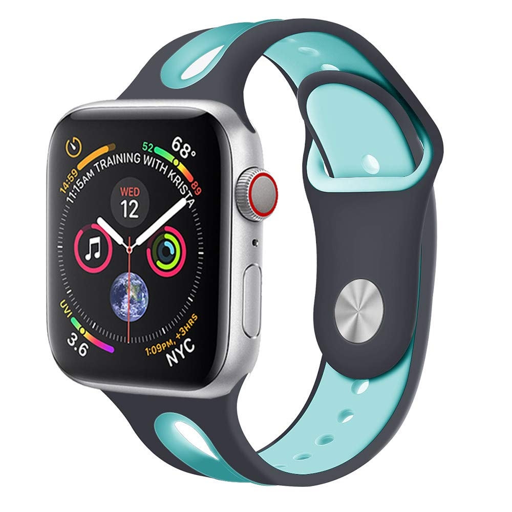 CSSD Cool Silicone Bracelet Watch Bands Wrist Straps for Apple Watch Series 4 40mm (C, S)