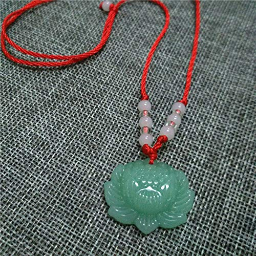 Natural Green Jade Lotus Pendant Necklace Fashion Lucky Charm Jewelry Gift New ()