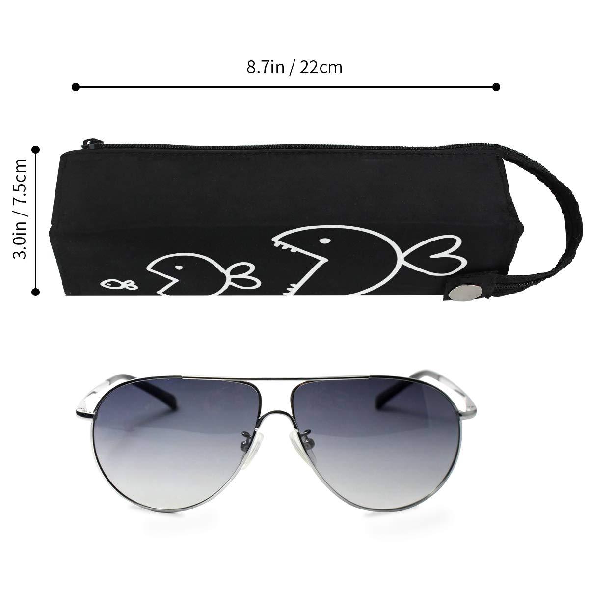 Fish Quote Black Big Eat Small Glasses Case Women Men Eyeglasses Bag Pencil Case Pouch