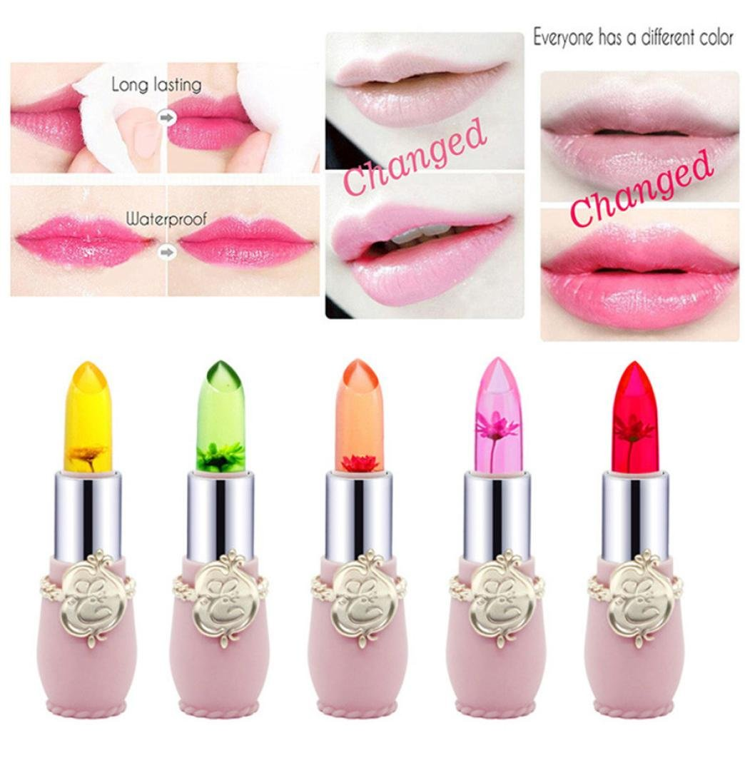 Wenjuan Magic Temperature Change Color Lip Balm Beauty Bright Flower Crystal Jelly Sexy Long-Lasting Moisturizer Lipstick Makeup (Yellow) by Wenjuan (Image #4)