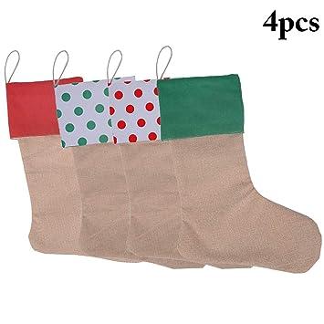Calcetines Navidad, Funpa 4 piezas Nicholas bota para llenar y colgar para regalos pequeños Colgando Struemp adornos navideños calcetines Medias de navidad: ...