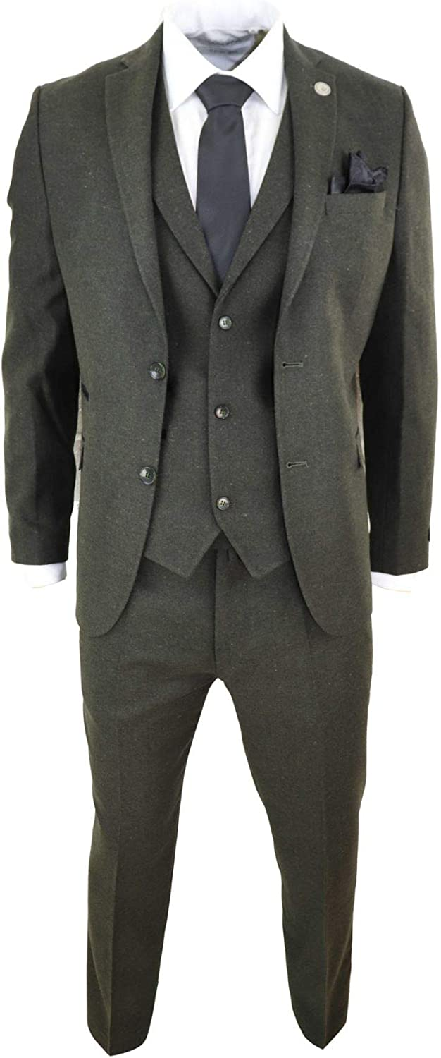 TruClothing.com Mens Wool 3 Piece Suit Tweed Olive Green Black Tailored Fit Peaky Blinders Classic Olive