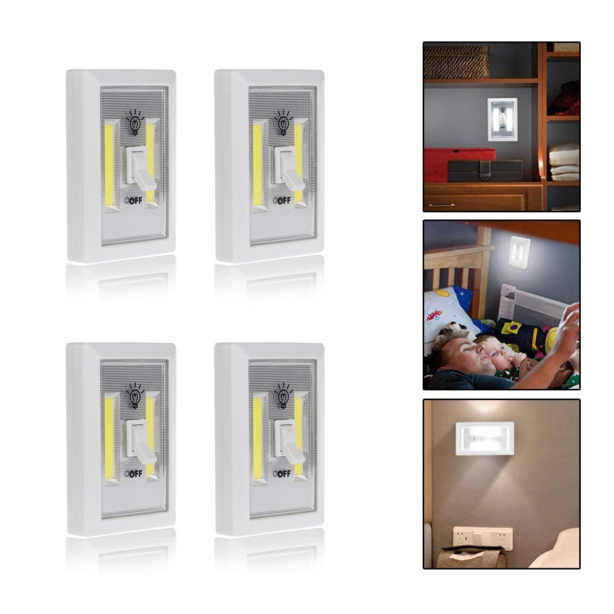 Bonanic COB LED Cordless Light,Closet Light,Battery Operated LED Wall Night Lights,Tap Light,Switch Wireless Closet Night,Mount at Under Cabinet, Closet Shelf,4 Pack(Battery not included)
