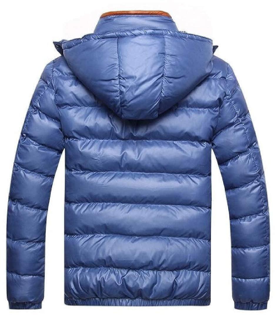Generic Mens Winter Thicken Solid Color Zipper Cotton Coat Puffer Jacket Hood Jacket