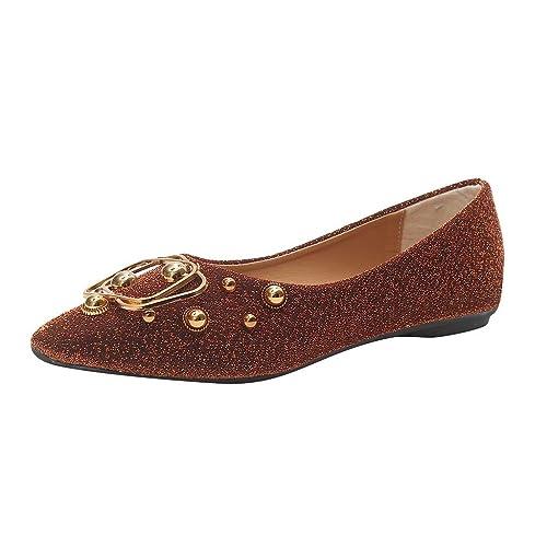 Sandalias,Internet_Mujer Boca Baja Metal Lentejuelas Fondo Plano Puntiagudo Mocasines,Vintage Remache Zapatos Individuales,Color sólido Mocasines/Sandalias ...